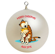 calvin and hobbes personalized custom ornament 3