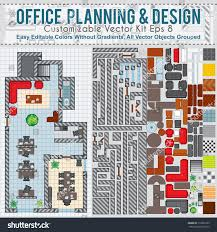 Office Space Floor Plan Office Space Planning Design Vector Kit Stock Vector 173582225