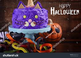 Halloween Cat Cake by Happy Halloween Cat Cake Party Food Stock Photo 468707123