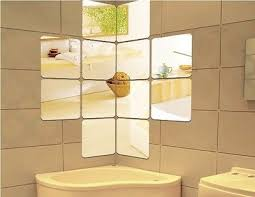 mirror tiles for bathroom walls bathroom mantel hall novelty set of 4 square wall mounted mirrors tiles