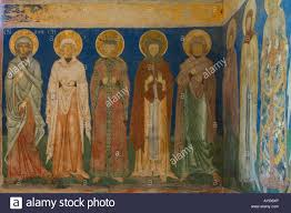 arbore painted church interior wall paintings stock photo royalty