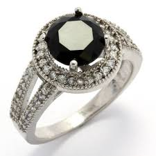 black sapphire rings images Fine jewelry brass with 3x 14k gold overlay 2 29ctw white black jpg
