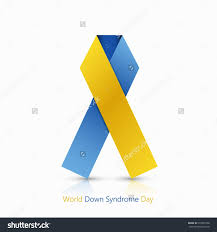blue and yellow ribbon world day blue and yellow ribbon on white background