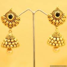 gold earrings online jhumkas earrings antique gold look black jhumki craftsvilla