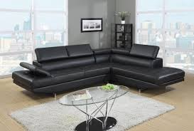 Milan Leather Sofa by Generation Trade Milan Collection Black Bonded Leather Sectional