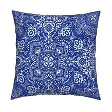 Royal Home Decor by Mosaic Bandana Large Royal Blue U0026 White Fabric Paisleypower