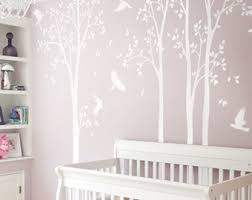 large nursery wall decals white tree decal large nursery tree decals with birds unisex white