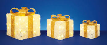 set of 3 premier led illuminated coloured christmas parcels in