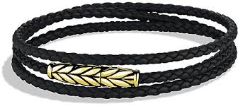 black leather bracelet with gold images David yurman chevron triple wrap bracelet in black leather and jpg