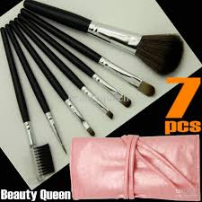 pro makeup cosmetic brushes set goat hair pink black bag leather