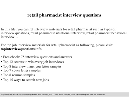 Retail Pharmacist Resume Sample by Retail Pharmacist Interview Questions