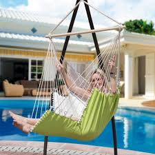 hanging air chair with pillow footrest drink holder black