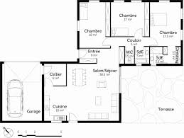 plan maison simple 3 chambres nouveau plan de maison plain pied 4 chambres avec garage ravizh com