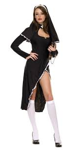 freeshipping black biblical nun asymmetrical costume