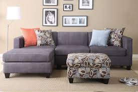 modern design living room with simple gray small sectional couch