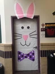 easter bunny door decoration in kindergarten spring has sprung