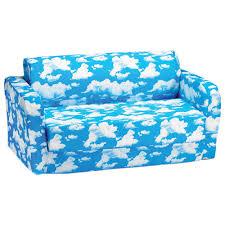 comfy kids polyester kids flip sofa blue white clouds kids