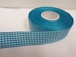 blue gingham ribbon turquoise blue 2 metres or roll x 25mm gingham ribbon