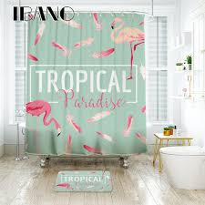 Flamingo Shower Curtains Ibano Tropical Flamingo Shower Curtain Waterproof Polyester Fabric