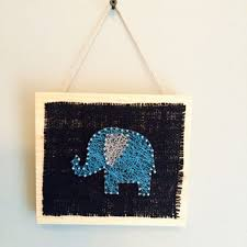 Elephant Decor For Home Pink Elephant Home Decor String Art From Edgeofthewoodsart On