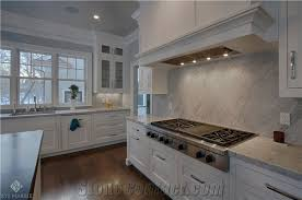 White Carrera Marble Kitchen Countertops - 5cm honed white carrara marble eased kitchen countertop from