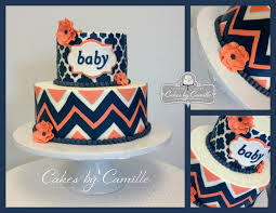 Navy White Coral Gray Bedroom Chevron Baby Shower Cake Navy And Coral Cake Cakes By Camille