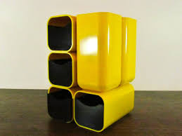 Plastic Desk Organizer 70s Yellow Plastic Desk Organizer Kartell Panton Era Cube