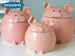 pink kitchen canisters pig canister set see on food network s the neely s get cooking