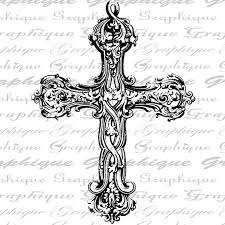 digital collage sheet antique cross with scroll work patterns