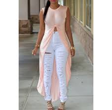 light pink top women s white ripped jeans ripped jeans tie front top light pink slit