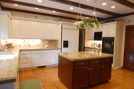 kitchen island creame granite countertop farmhouse peninsula