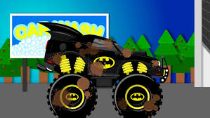 monster truck cartoon videos batmobile car wash monster truck videos for children videos