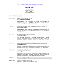 Resume Work History Examples by Civil Engineer Resume Sample Http Www Resumecareer Info Civil
