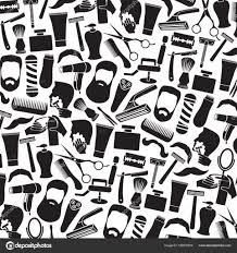 background pattern with barber salon or shop icons shaving tools