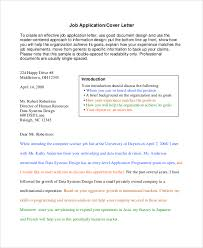 sample cover letter for job 8 examples in word pdf
