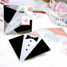 wedding favor coasters 100pcs 50sets groom dress glass placemats coasters wedding