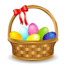 easter egg basket easter egg basket with bow stock vector illustration of