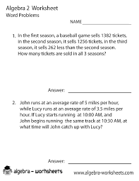 algebra 2 word problems worksheet printable