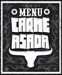 carne asada roast meat barbecue spanish text menu vector lettering