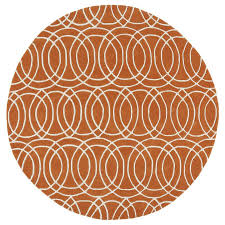 Orange And Brown Area Rugs Shop Kaleen Revolution Orange Round Indoor Handcrafted Novelty