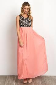 coral pleated chiffon lace top maternity maxi dress
