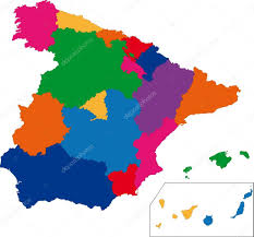 Spain Regions Map by Colorful Spain Map U2014 Stock Vector Volina 1173545