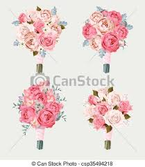 wedding flowers drawing small vector set of wedding bouquets with roses and freesia vector