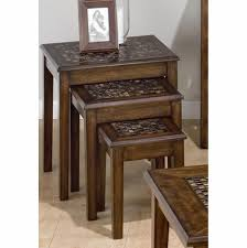 jofran baroque end table baroque brown nesting tables with mosaic tile inlay 698 7