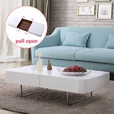 glossy white coffee table rectangular high gloss white coffee table with storage chorme legs