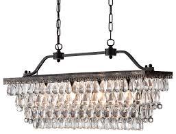 Rectangular Chandelier With Crystals Antique Bronze Rectangular Crystal Chandelier Dining Room Ceiling