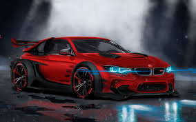 sport cars wallpaper bmw m4 custom cgi neon sport car hd 4k automotive