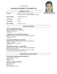 nursing resume example sample resume for nurses going abroad frizzigame resume sample philippines nurse frizzigame