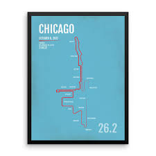 Chicago Map Poster by Chicago Marathon Course Map 2008 Chicago Illinois Mappery 2015
