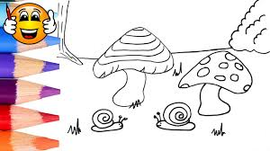 coloring pages for kids snail mushroom coloring for kids